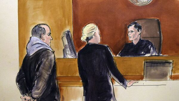 In this courtroom drawing, Elvis Redzepagic, left, appears before Magistrate Judge Robert Levy, right, Saturday, March 4, 2017 in New York, during his arraignment on charges that he attempted to provide material support to a foreign terrorist organization. - Sputnik International