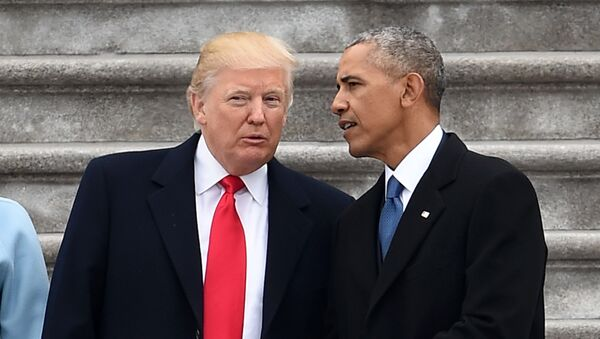 President Donald Trump and former President Barack Obama talk on the East front steps of the US Capitol after inauguration ceremonies on January 20, 2017 in Washington, DC. - Sputnik International