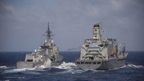 Japan Maritime Self-Defense Force guided-missile destroyer JS Atago (DDG 177) and USNS Pecos (T-AO 197). (File) - Sputnik International