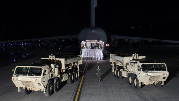 Terminal High Altitude Area Defense (THAAD) interceptors arrive at Osan Air Base in Pyeongtaek, South Korea, in this handout picture provided by the United States Forces Korea (USFK) and released by Yonhap on March 7, 2017. Picture taken on March 6, 2017 - Sputnik International
