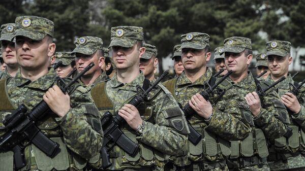 Members of Kosovo Security Force (KSF) attend a ceremony marking the 19th anniversary of Kosovo Liberation Army (KLA) Commander Adem Jashari death, in capital Pristina, Kosovo in this photo taken on Sunday, March 5, 2017 - Sputnik International