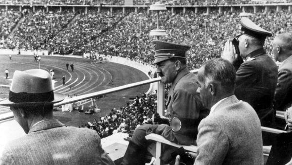 Dr. Joseph Goebbels, German Chancellor Adolf Hitler, Reichs Sports Leader Hans von Tschammer und Osten and Generalfeldmarschall Werner von Blomberg observe the Olympic Games in Berlin, Germany in August 1936 - Sputnik International