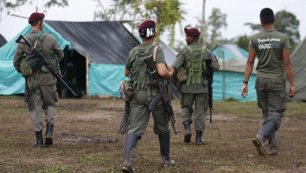 Revolutionary Armed Forces of Colombia, FARC, rebels walk in their camp in La Carmelita near Puerto Asis in Colombia's southwestern state of Putumayo, Tuesday, Feb. 28, 2017 - Sputnik International