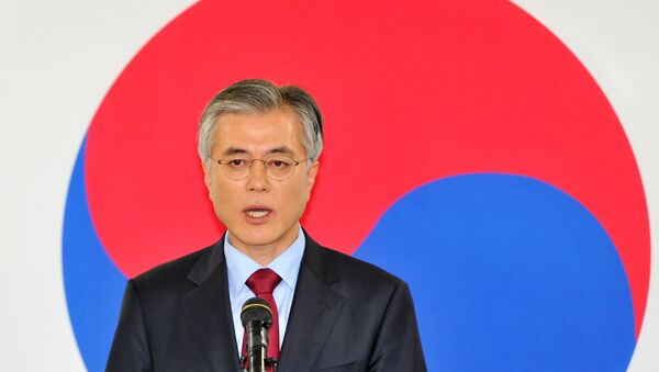 This file photo taken on December 18, 2012 shows South Korea's presidential candidate Moon Jae-In of the opposition Democratic United Party speaking during a press conference at the party head office in Seoul. - Sputnik International
