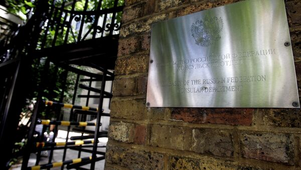 A sign on the wall at the entrance to the Russian Embassy in London. (File) - Sputnik International