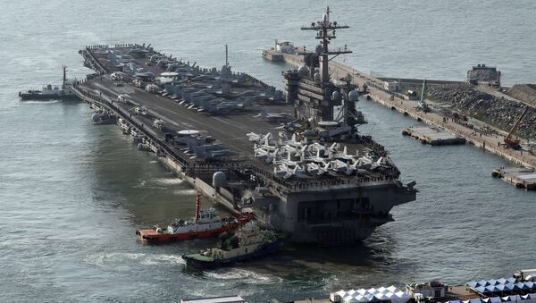 U.S. aircraft carrier USS Carl Vinson arrives for an annual joint military exercise called Foal Eagle between South Korea and U.S, at the port of Busan, South Korea, March 15, 2017. - Sputnik International