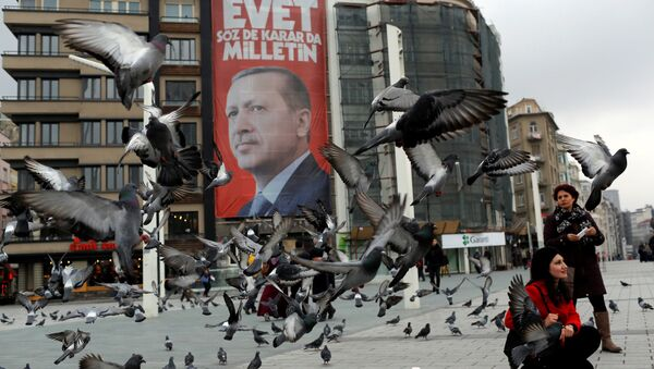 A campaign banner for the upcoming referendum with the picture of Turkish President Tayyip Erdogan is seen on Taksim square in central Istanbul, Turkey March 15, 2017. - Sputnik International