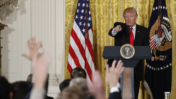 President Donald Trump calls on a reporter during a news conference, Thursday, Feb. 16, 2017, in the East Room of the White House in Washington - Sputnik International