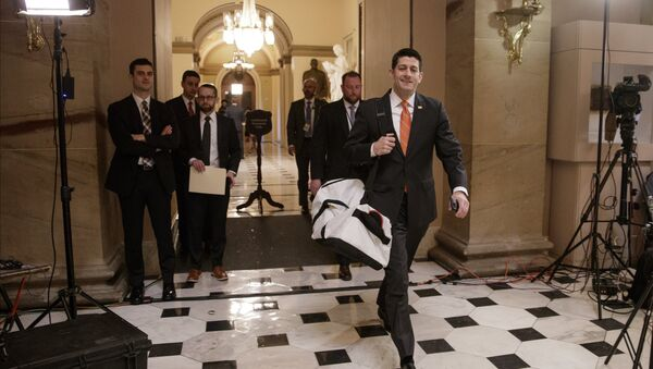 House Speaker Paul Ryan of Wis. strides to his office on Capitol Hill in Washington, Thursday, March 23, 2017, as he and the Republican leadership scramble for votes on their health care overhaul in the face of opposition from reluctant conservatives in the House Freedom Caucus. - Sputnik International