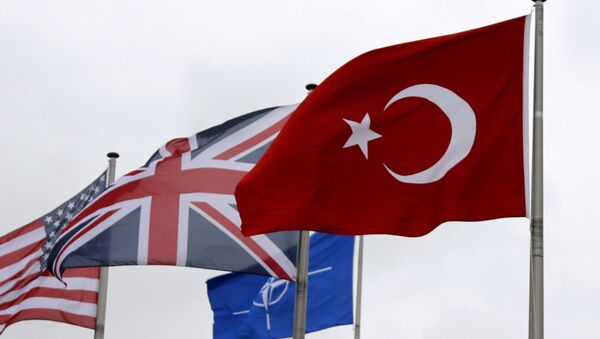 A Turkish flag (R) flies among others flags of NATO members during the North Atlantic Council (NAC) at the Alliance headquarters in Brussels, Belgium, July 28, 2015 - Sputnik International