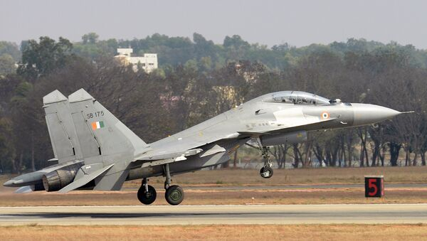 A Sukhoi Su-30MKI combat aircraft of the Indian Air Force takes off during an aerial display at Yelahanka Air Force Station on the inaugural day of the 11th edition of 'Aero India', a biennial air show and aviation exhibition, in Bangalore on February 14, 2017 - Sputnik International