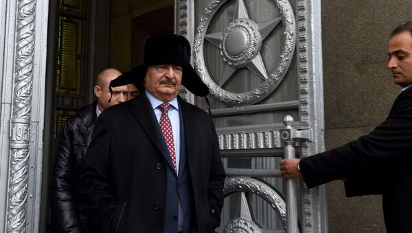 Marshal Khalifa Haftar, chief of the so-called Libyan National Army, leaves the main building of Russia's Foreign Ministry after a meeting with Russian Minister of Foreign Affairs in Moscow on November 29, 2016 - Sputnik International