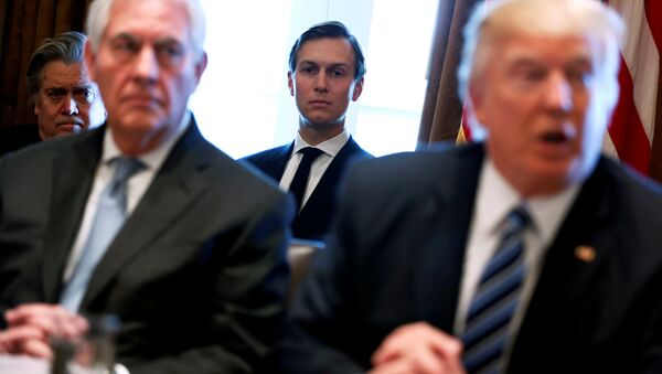 White House advisors Jared Kushner and Steve Bannon look on as U.S. President Donald Trump (R), flanked by Secretary of State Rex Tillerson (2nd L), holds a cabinet meeting at the White House in Washington, U.S. - Sputnik International