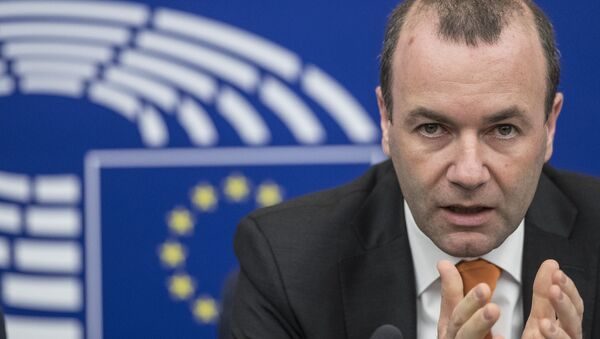 Chairman of the European People's Party group of the European Parliament Manfred Weber gestures during a press briefing in European Parliament in Strasbourg, eastern France, Tuesday, March 14, 2017. - Sputnik International