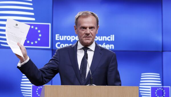 European Council President Donald Tusk holds a news conference after receiving British Prime Minister Theresa May's Brexit letter in notice of the UK's intention to leave the bloc under Article 50 of the EU's Lisbon Treaty to EU Council President Donald Tusk in Brussels, Belgium March 29, 2017. - Sputnik International