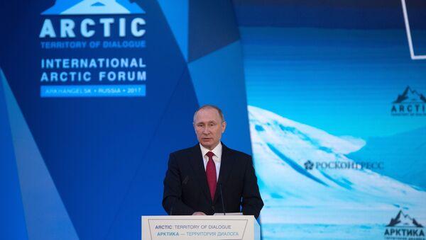 Russian President Vladimir Putin visits The Arctic: Territory of Dialogue international forum - Sputnik International