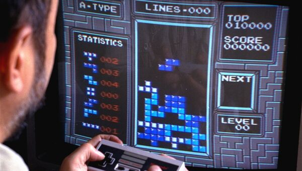 Tetris, an addictive brain-teasing video game, is shown as played on the Nintendo Entertainment System in New York, June 1990. Created by a Soviet scientist, Tetris is the first Communist bloc video game to hit it big in the free market. - Sputnik International