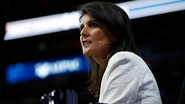 U.S. Ambassador to the United Nations NIkki Haley speaks to the American Israel Public Affairs Committee (AIPAC) policy conference in Washington, U.S., March 27, 2017 - Sputnik International