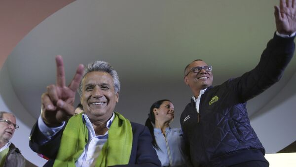 Alianza PAIS's presidential candidate Lenin Moreno, left, and his running mate Jorge Glas smile end of the day of the presidential election, in Quito, Ecuador, Sunday, April 2, 2017. Ecuador went to the polls in a second round presidential elections. - Sputnik International