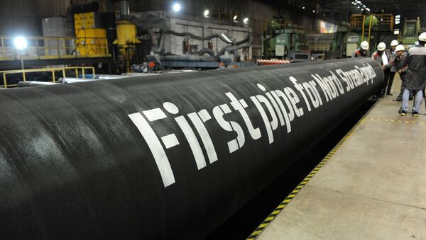 A handout by Nord Stream 2 claims to show the first pipes for the Nord Stream 2 project at a plant of OMK, which is one of the three pipe suppliers selected by Nord Stream 2 AG, in Vyksa, Russia, in this undated photo provided to Reuters on March 23, 2017 - Sputnik International
