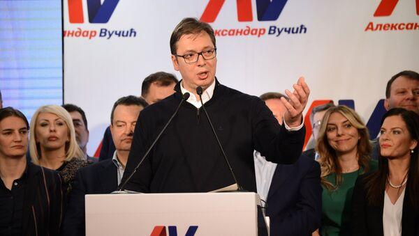 Serbian Prime Minister Aleksandar Vucic, the leading candidate in the Serbian presidential election, at his headquarters in Belgrade - Sputnik International
