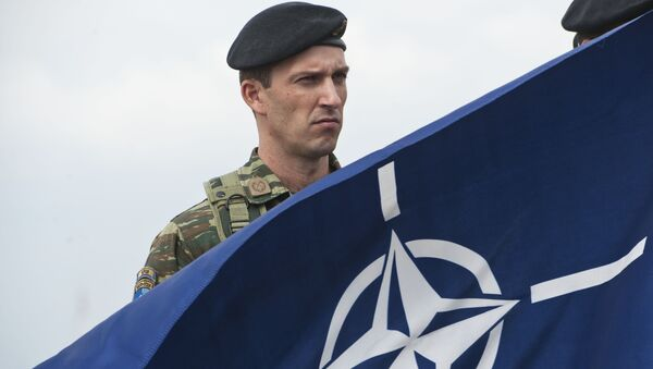 A members of NATO-led peacekeepers in Kosovo (KFOR) holds the NATO flag during the change of command ceremony in Pristina on September 3, 2014 - Sputnik International