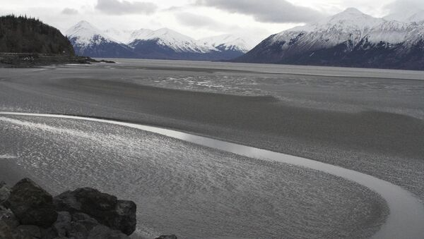 A ribbon of water cuts through the mud flats of Cook Inlet, just off the shore of Anchorage, Alaska. Natural gas is bubbling up from an underwater pipeline in Alaska's Cook Inlet. - Sputnik International