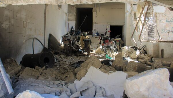 A picture taken on April 4, 2017 shows destruction at a hospital in Khan Shaykhun in the northwestern Syrian Idlib province, following a suspected toxic gas attack. - Sputnik International