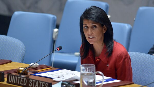 US Ambassador to the UN and UN security council president, Nikki Haley speaks during an United Nations Security Council meeting on Syria, at the UN headquarters in New York - Sputnik International