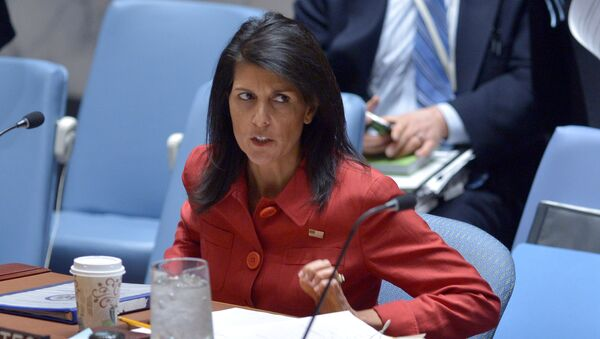 US Ambassador to the UN and current UN Security Council president, Nikki Haley arrives for a United Nations Security Council meeting on Syria, at the UN headquarters in New York - Sputnik International
