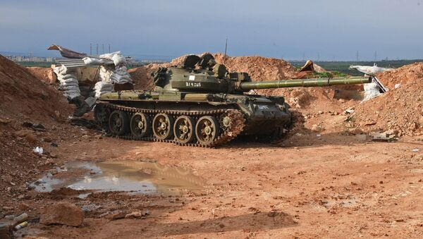 A tank at the Syrian Army's position to the north of Hama - Sputnik International
