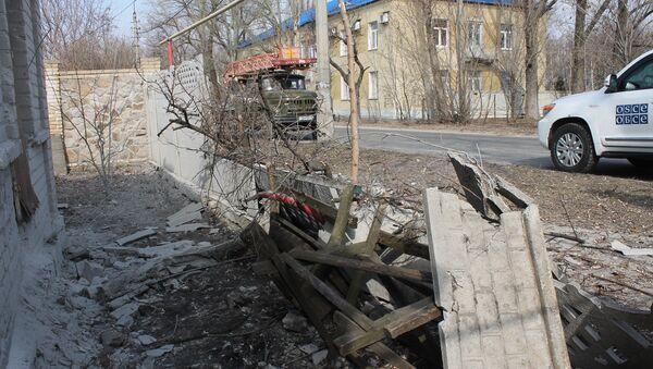 Aftermath of shelling in the town of Luganskoye in the Donetsk Region. File photo - Sputnik International