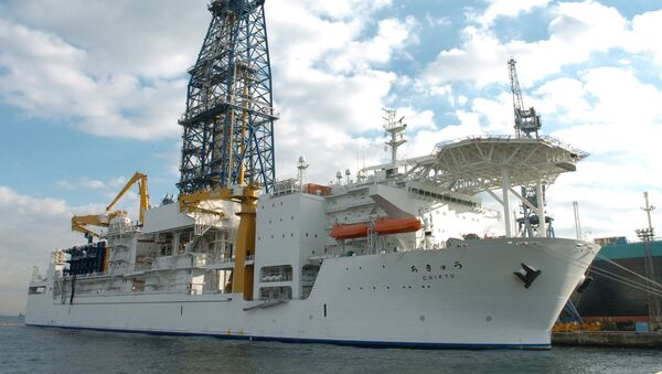 In this photo released from China's Xinhua news agenycy, the deep-sea drilling vessel Chikyu (the Earth in Japanese) makes its first public appearance in Yokohama, Japan, on Thursday December 15, 2005 - Sputnik International