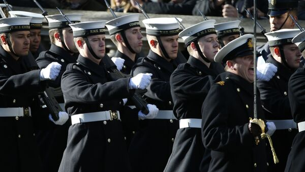 Members of the Royal Navy march on to Whitehall as they take past in the Remembrance Sunday service at the Cenotaph in London, Sunday, Nov. 13, 2016. - Sputnik International
