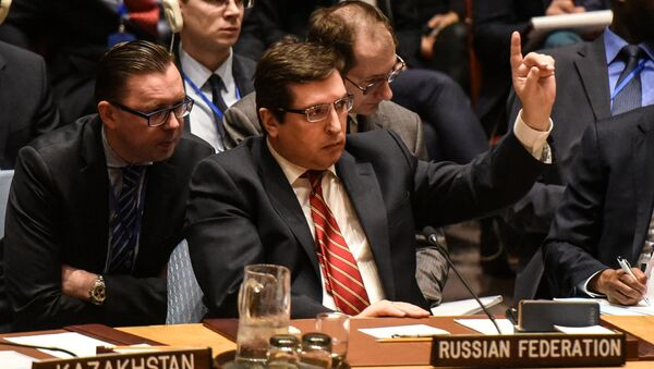 Russian Deputy Ambassador to the United Nations Vladimir Safronkov delivers remarks during the Security Council meeting on the situation in Syria at the United Nations Headquarters, in New York, U.S, April 7, 2017 - Sputnik International