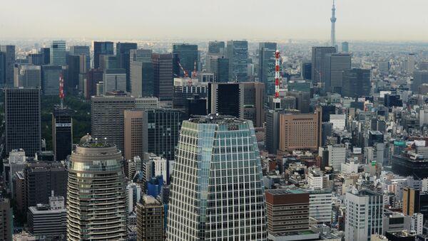 Tokyo's Minato District. Foreground is the Atago Green Hills Mori Tower skyscraper. Foreground, left is the Atago Green Hills Forest Tower skyscraper. - Sputnik International