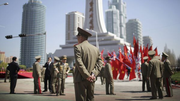 North Korean military soldiers walk along the Ryomyong residential area, a collection of more than a dozen apartment buildings just after attending its official opening ceremony on Thursday, April 13, 2017, in Pyongyang, North Korea. (AP Photo/Wong Maye-E) - Sputnik International