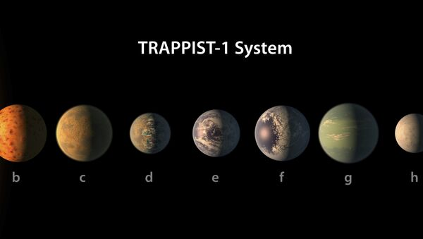Artist's conception of what the TRAPPIST-1 planetary system may look like, based on available data about their diameters, masses and distances from the host star - Sputnik International