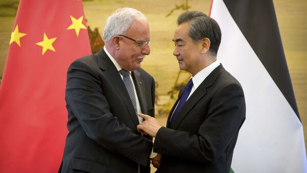 Chinese Foreign Minister Wang Yi meets with  Palestinian Foreign Minister Riyad al-Maliki, April 2017 - Sputnik International