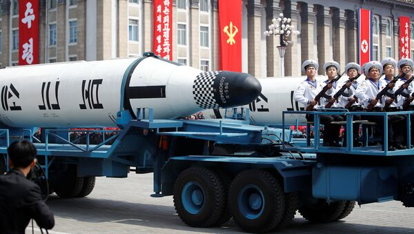 Military vehicles carry missiles with characters reading 'Pukkuksong' during a military parade marking the 105th birth anniversary of country's founding father, Kim Il Sung in Pyongyang, North Korea April 15, 2017. - Sputnik International