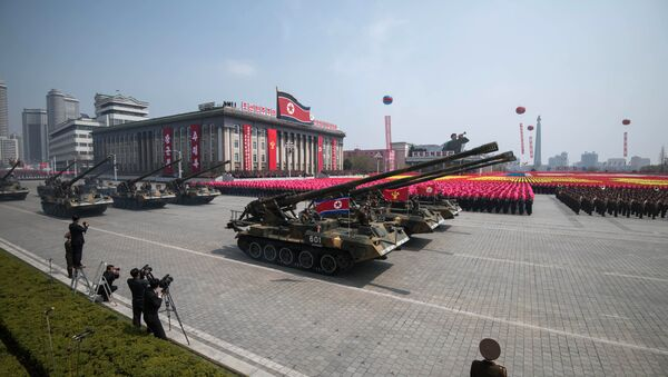 Korean People's Army (KPA) tanks are displayed on Kim Il-Sung square during a military parade marking the 105th anniversary of the birth of late North Korean leader Kim Il-Sung in Pyongyang on April 15, 2017. - Sputnik International