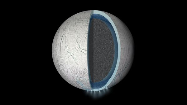 Illustration of the interior of Saturn's moon Enceladus showing a global liquid water ocean between its rocky core and icy crust. Thickness of layers shown here is not to scale. - Sputnik International