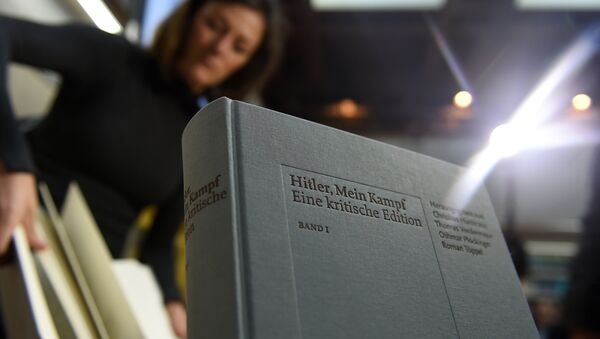 A copy of an annotated version of Adolf Hitler's book Mein Kampf is pictured prior to a press conference for it's presentation in Munich, southern Germany, on January 8, 2016 - Sputnik International