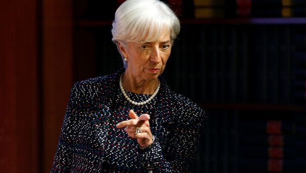 International Monetary Fund (IMF) Managing Director Christine Lagarde arrives to deliver a speech at the Solvay Library in Brussels, Belgium April 12, 2017.  - Sputnik International