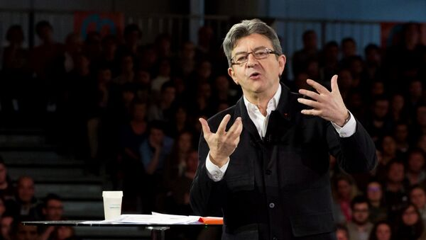 Jean-Luc Melenchon during a rally in Lille, France during last year's presidential election. - Sputnik International