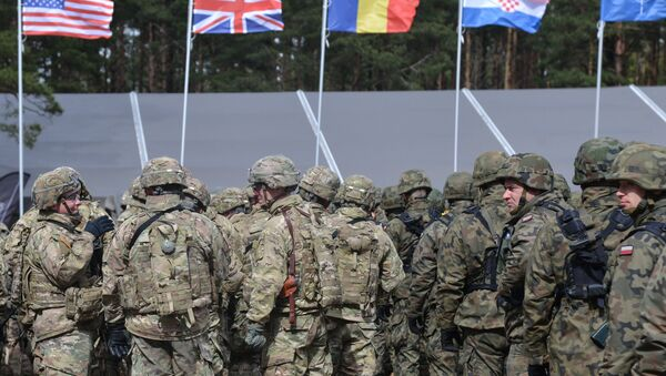 The welcoming ceremony for NATO's multinational battalion headed by the USA in Orzysz, Poland. - Sputnik International