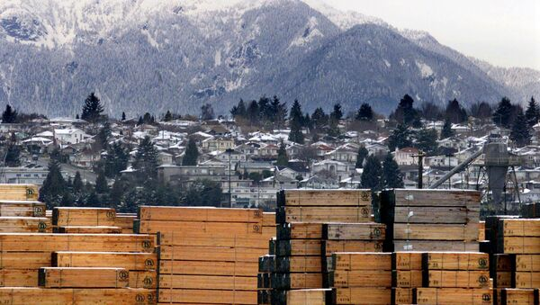 Piles of softwood lumber destined for export, are stacked at a Richmond, B.C., Canada lumberyard (File) - Sputnik International