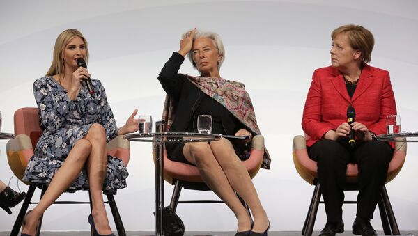 Ivanka Trump, daughter and adviser of U.S. President Donald Trump, International Monetary Fund Managing Director Christine Lagarde and German Chancellor Angela Merkel, from left, attend a panel at the W20 Summit in Berlin Tuesday, April 25, 2017 - Sputnik International