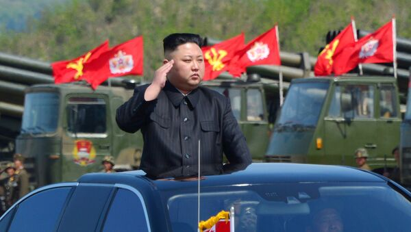 North Korea's leader Kim Jong Un watches a military drill marking the 85th anniversary of the establishment of the Korean People's Army (KPA) in this handout photo by North Korea's Korean Central News Agency (KCNA) made available on April 26, 2017 - Sputnik International