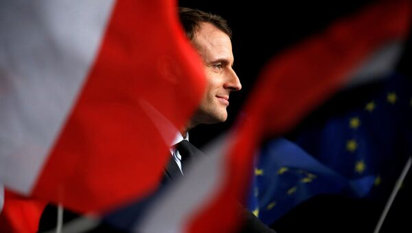 Emmanuel Macron, head of the political movement En Marche !, or Onwards !, and candidate for the 2017 presidential election, attends a meeting in Reims, France March 17, 2017 - Sputnik International